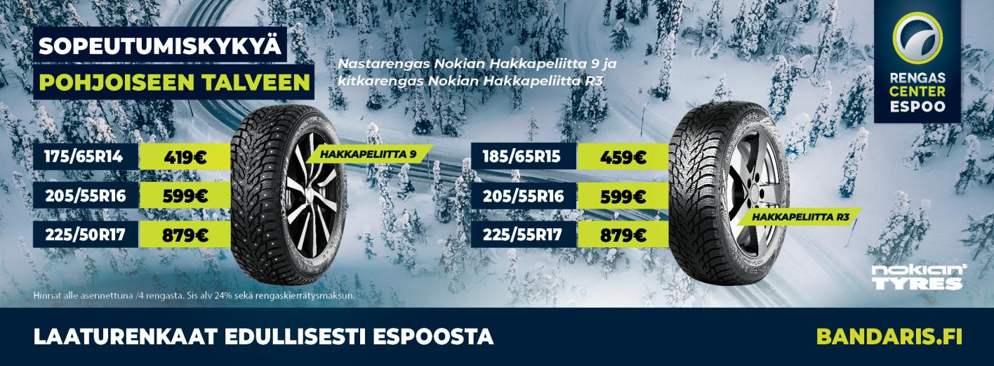 Nokian - Laaturenkaat edullisesti Espoosta